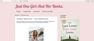 Just One Girl And Her Books.- Author Interview - Lisa Dickenson