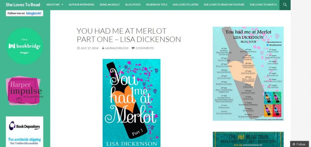 http://shelovestoread.wordpress.com/2014/07/17/you-had-me-at-merlot-part-one-lisa-dickenson/