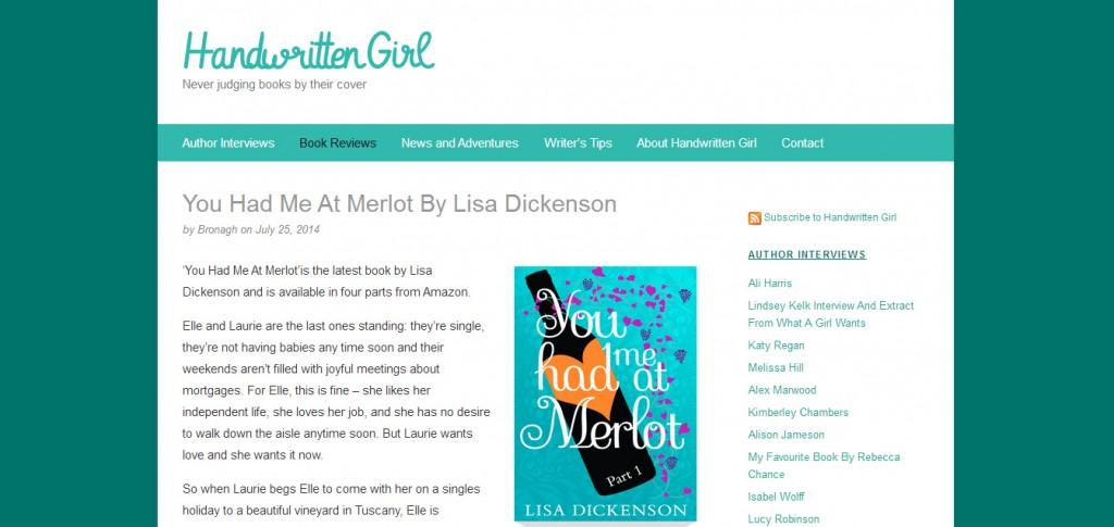 http://handwrittengirl.com/book-reviews/you-had-me-at-merlot-by-lisa-dickenson